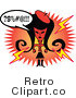 Royalty Free Vector Clip Art of a Raging Mad Retro Girl Cursing by Andy Nortnik