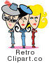 Royalty Free Vector Clip Art of a Retro Mom Posing with Her Two Daughters by Andy Nortnik