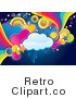 Royalty Free Vector Retro Illustration of a Blank Thought Cloud with Colorful Hearts and Rainbows by MilsiArt