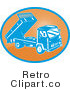 Royalty Free Vector Retro Illustration of a Blue Dump Truck Against Rusty Orange Background by Patrimonio