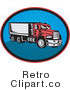 Royalty Free Vector Retro Illustration of a Classic Red Big Rig Truck by Patrimonio