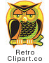 Royalty Free Vector Retro Illustration of a Colorful Owl Perched on a Branch at Night with a Full Moon Background by Andy Nortnik