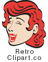 Royalty Free Vector Retro Illustration of a Happy Red Haired Teenage Girl Closing Her Eyes While Laughing Hysterically by Andy Nortnik