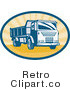 Royalty Free Vector Retro Illustration of a Vintage Dump Truck by Patrimonio