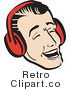 Royalty Free Vector Retro Illustration of a Young Man Laughing While Wearing Ear Muffs During Winter by Andy Nortnik