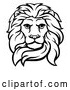 Vector Clip Art of a Fierce Retro Male Lion Head in Black Lineart by AtStockIllustration