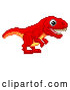 Vector Clip Art of a Happy Pixelated Retro 8-Bit Tyrannosaurs Rex Dinosaur Determined to Walk Forward into an Old School Styled Video Game by AtStockIllustration