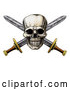 Vector Clip Art of a Hostile Retro Pirate Skull over Crossed Swords by AtStockIllustration