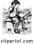Vector Clip Art of a Retro Boy Studying Math by Prawny Vintage