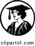 Vector Clip Art of a Retro Female Graduate by Prawny Vintage