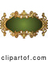 Vector Clip Art of a Retro Ornate Green and Gold Frame with Blank Space by AtStockIllustration