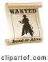 Vector Clip Art of a Retro Silhouetted Outlaw Wanted Dead or Alive Poster with Bullet Holes by AtStockIllustration