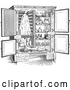 Vector Clip Art of Retro Antique Refrigerator with an Ice Compartment and Air Flow Shown, in Black and White by Picsburg
