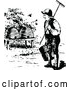 Vector Clip Art of Retro Beekeeper Approaching Hives by Prawny Vintage