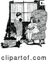Vector Clip Art of Retro Boy and Girl Discussing a Book in a Living Room by Prawny Vintage