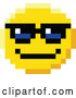 Vector Clip Art of Retro Cool 8 Bit Video Game Style Emoji Smiley Face Wearing Sunglasses by AtStockIllustration