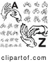 Vector Clip Art of Retro Digital Collage of Alphabet Sign Language Hands, a Through Z by BestVector