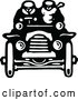 Vector Clip Art of Retro Driver and Passenger in a Convertible Car by Prawny Vintage