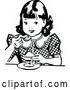 Vector Clip Art of Retro Girl Eating Dessert by Prawny Vintage