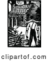Vector Clip Art of Retro Man Carrying Water to a Cabin by Prawny Vintage