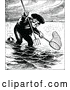 Vector Clip Art of Retro Man Fishing with a Pitchfork and Net by Prawny Vintage