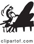Vector Clip Art of Retro Man Wildly Playing a Piano by BestVector