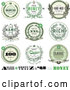 Vector Clip Art of Retro Money Wreath Seals with Sample Text by BestVector