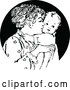 Vector Clip Art of Retro Nurturing Mother Kissing Her Baby by Prawny Vintage