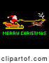Vector Clip Art of Retro Pixelated Santa Flying His Sleigh with Merry Christmas Text on Black by AtStockIllustration