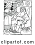 Vector Clip Art of Retro Santa with Mrs. Claus Reading Christmas Letters by Prawny Vintage