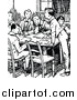 Vector Clip Art of Retro School Boys Around Table by Prawny Vintage