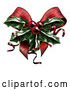 Vector Clip Art of Retro Sprig of Christmas Holly with Red Berries and Curly Ribbons over a Bow by AtStockIllustration