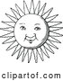 Vector Clip Art of Retro Sun Face by Prawny Vintage
