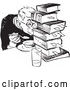 Vector Clip Art of Retro Teenage Boy Hiding Behind Books While Eating in Black and White by Picsburg