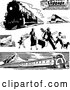 Vector Clip Art of Retro Trains and Traveling Family by BestVector