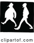 Vector Clip Art of Silhouetted Retro Men Walking Together by Prawny Vintage