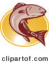 Vector Clipart of a Retro Leaping Red Drum Bass Fish over an Oval of Rays by Patrimonio