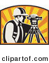 Vector Clipart of a Retro Surveyor Peering Through a Theodolite Against a Sunset by Patrimonio