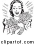 Vector Clipart of a Retro Woman Holding Handfulls of Cash by BestVector