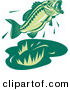 Vector Clipart of a Retro Woodcut Green Jumping Largemouth Bass Fish by Patrimonio