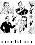 Vector Clipart of Black and White Retro Pointing Businessmen by BestVector