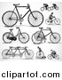 Vector Clipart of Retro Black and White Bicycles and People Riding Bikes by BestVector
