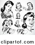 Vector Clipart of Retro Black and White Ladies Thinking and Talking by BestVector