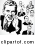 Vector Clipart of Retro People Talking Businessmen by BestVector