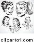 Vector Clipart Retro Black and White Female Faces by BestVector