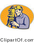 Vector Retro Clipart of a Guy Surveying with a Theodolite Tool by Patrimonio