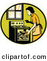 Vector Retro Clipart of a Housewife Cooking Bread in an Oven by Patrimonio