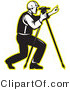 Vector Retro Clipart of a Male Surveyor Using a Theodolite by Patrimonio