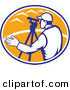 Vector Retro Clipart of a Surveyor Engineer Using Theodolite Total Station Equipment by Patrimonio