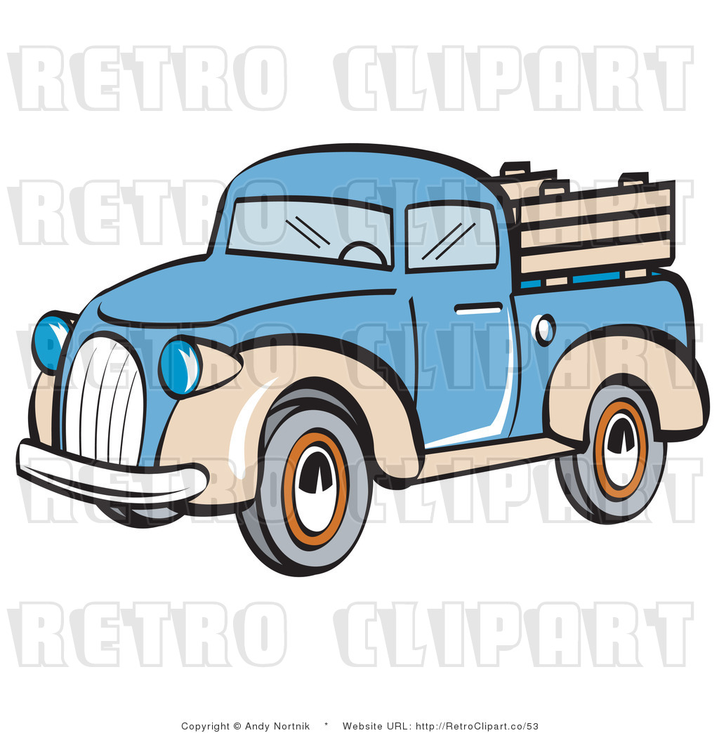 royalty free retro vector clip art of a pickup truck by andy